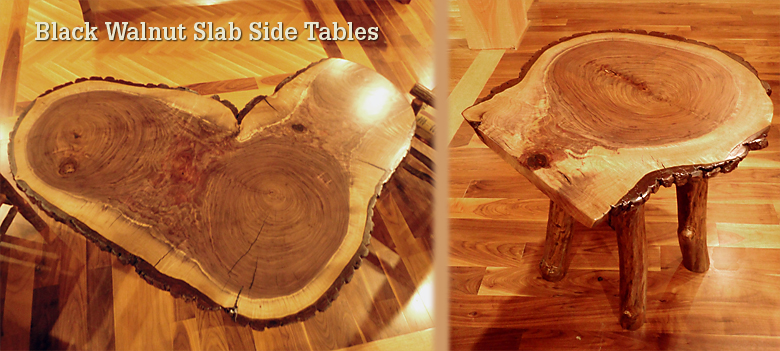 Black walnut slab side tables